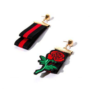 Striped Fabric Embroidery Rose Floral Earrings