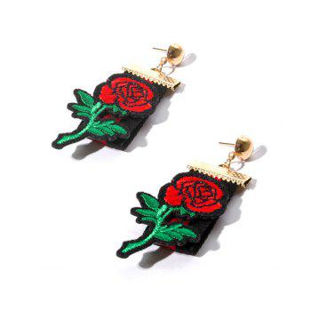 Vintage Embroidery Rose Flower Fabric Earrings - GOLDEN GOLDEN
