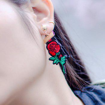Vintage Embroidery Rose Flower Fabric Earrings -  GOLDEN