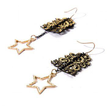 Star Chain Hook Drop Earrings -  GOLDEN