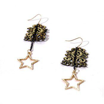 Star Chain Hook Drop Earrings - GOLDEN GOLDEN