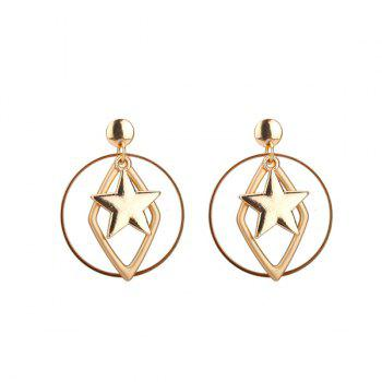 Alloy Circle Geometric Star Earrings - GOLDEN GOLDEN