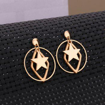 Alloy Circle Geometric Star Earrings -  GOLDEN