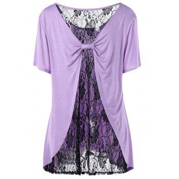 Plus Size Bow Back Lace Trim T-shirt