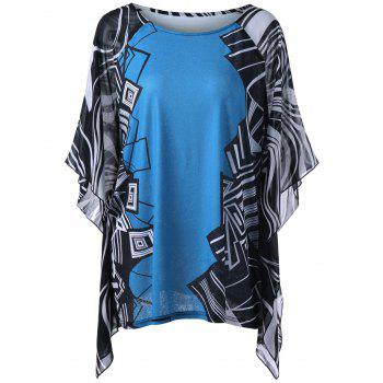 Plus Size Butterfly Sleeve Geometric Blouse