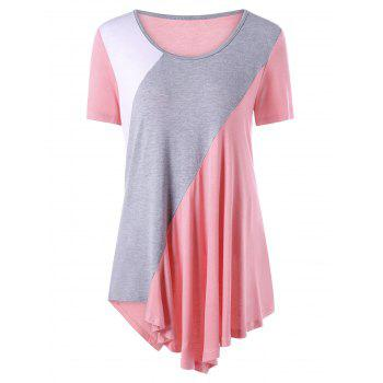 Color Block Asymmetrical Tunic Top