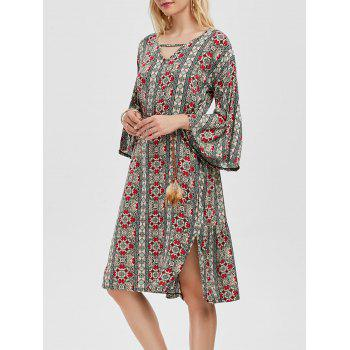 Bell Sleeve Printed Side Slit Dress