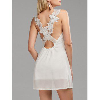 Lace Panel Open Back Mini Dress