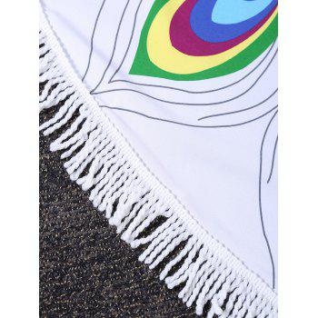Peacock Feather Round Fringed Beach Throw - COLORMIX COLORMIX