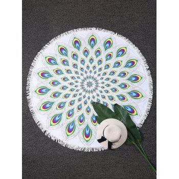 Peacock Feather Round Fringed Beach Throw