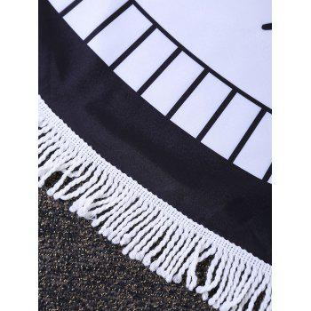 Feather Print Round Beach Throw with Fringes - WHITE/BLACK WHITE/BLACK