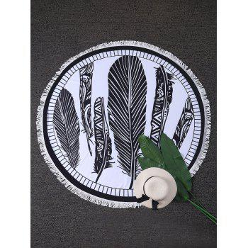 Feather Print Round Beach Throw with Fringes