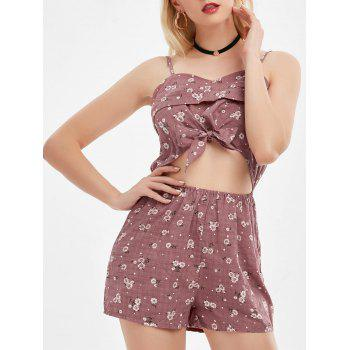 Tiny Floral Cut Out Cami Romper