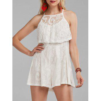 High Waisted Flounce Lace Romper