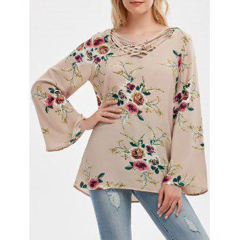 Crisscross V Neck Floral Bell Sleeve Tunic
