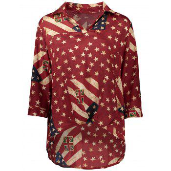 Distressed American Flag High Low Blouse