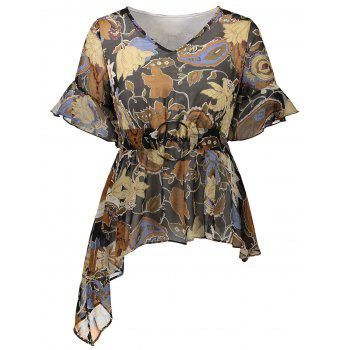 Floral Print O Ring Design Asymmetrical Blouse