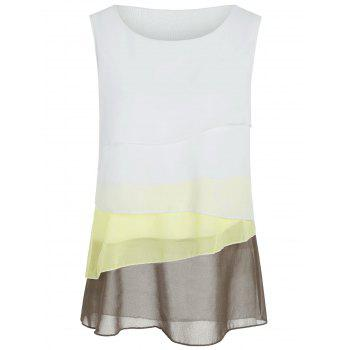 Ombre Color Layered Sheer Chiffon Tank Top