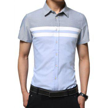 Color Block Panel Stripe Short Sleeve Shirt
