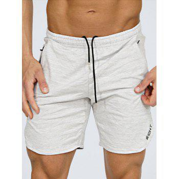 Zip Pocket Side Slit Heathered Shorts