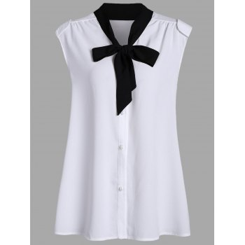 Bow Tie Chiffon Sleeveless Plus Size Blouse