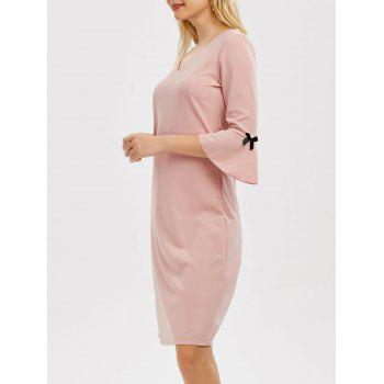 V Neck Flare Sleeve Knee Length Dress