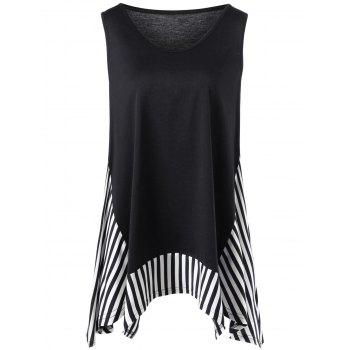 Plus Size Striped Trim Sleeveless T-shirt