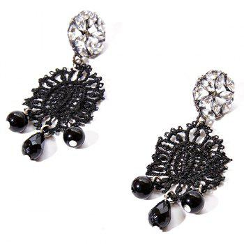 Tear Drop Beaded Hollow Out Rhinestone Earrings