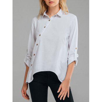 Linen Slant Oblique Button Shirt