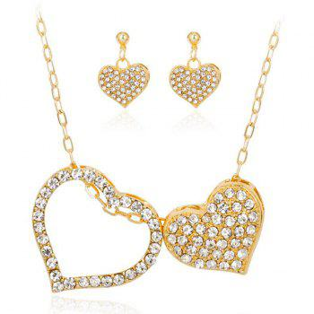 Rhinestone Double Heart Design Necklace and Earrings
