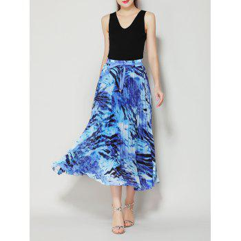 Pleated High Waist Midi Skirt with Bowknot