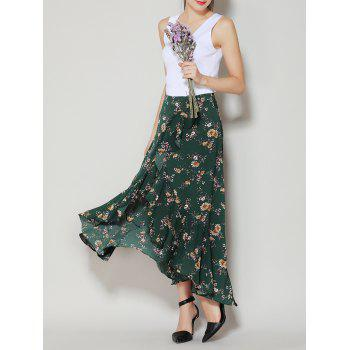 Tiny Floral Print Asymmetrical Long Ruffle Skirt