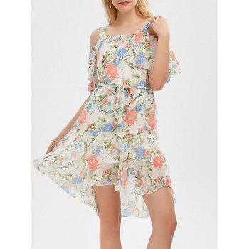 Cold Shoulder Floral Print Flounce Dress - OFF-WHITE OFF WHITE