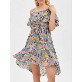 Cold Shoulder Floral Print Flounce Dress