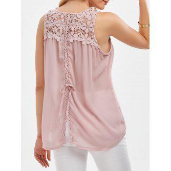 Floral Lace Insert Self Tie Tank Top