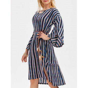 Striped Side Slit Belted Dress