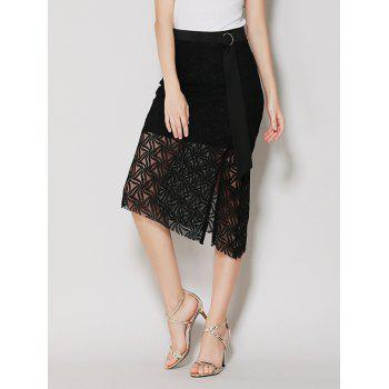 Asymmetrical Lace Skirt with Long Tail