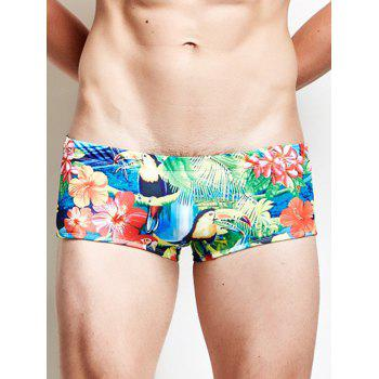 Bird Floral Print Beach Swimming Trunks