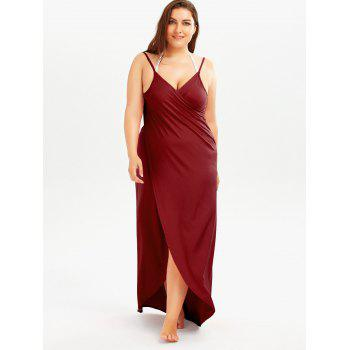 Plus Size Beach Wrap Cover Up Dress - CLARET CLARET