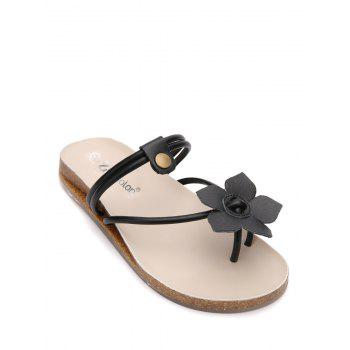 Flower Faux Leather Slippers