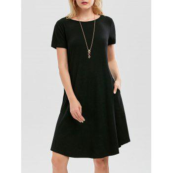 Short Sleeve A Line Dress with Pockets