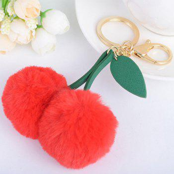 Leaf Cherry Fuzzy Key Chain -  RED