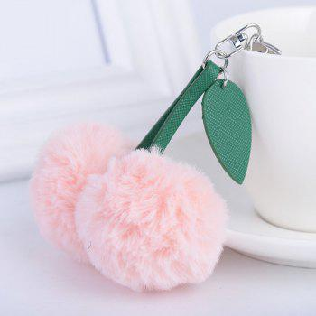 Leaf Cherry Fuzzy Key Chain - PINK PINK