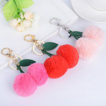 Leaf Cherry Fuzzy Key Chain -  ROSE RED