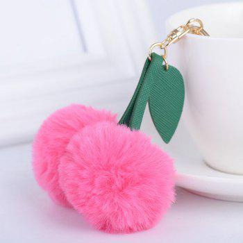 Leaf Cherry Fuzzy Key Chain - ROSE RED ROSE RED