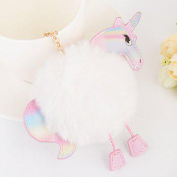 Unicorn Shaped Fuzzy Ball Key Chain - WHITE