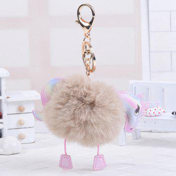 Unicorn Shaped Fuzzy Ball Key Chain