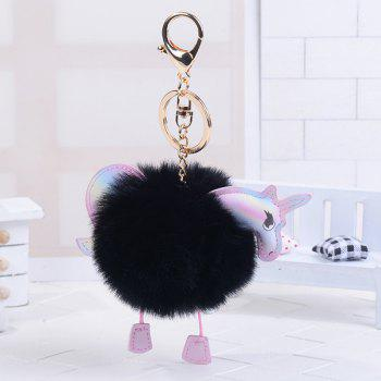 Unicorn Shaped Fuzzy Ball Key Chain - BLACK BLACK