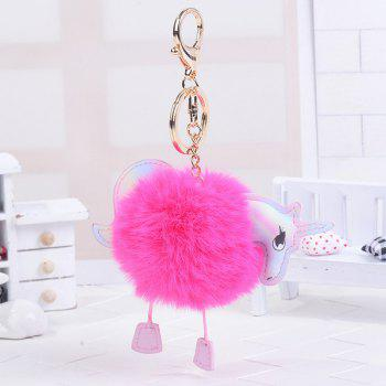 Unicorn Shaped Fuzzy Ball Key Chain - ROSE RED ROSE RED