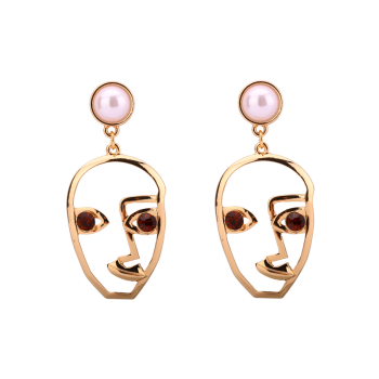 Faux Pearl Rhinestone Face Earrings